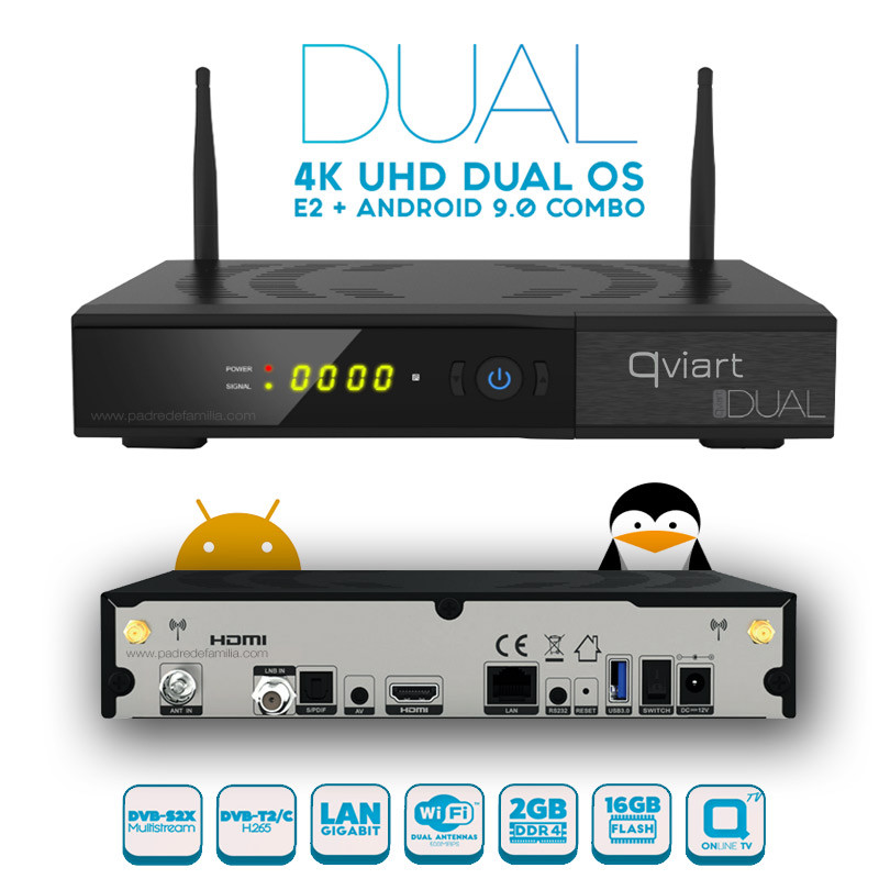 QVIART DUAL 4K [E2 + ANDROID 9.0] SAT+CABO+TDT+IPTV Qviart-dual